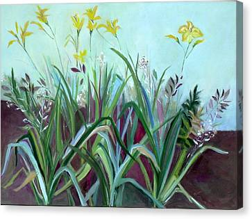 Canvas Print featuring the painting Flowers And Leaves by Betty Pieper