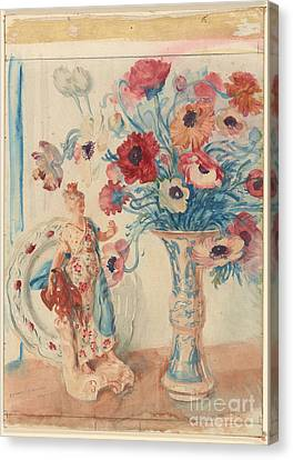 Flowers And Porcelain Canvas Print by Celestial Images