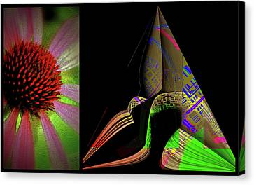 Canvas Print featuring the digital art Flowers And Shapes by Irma BACKELANT GALLERIES