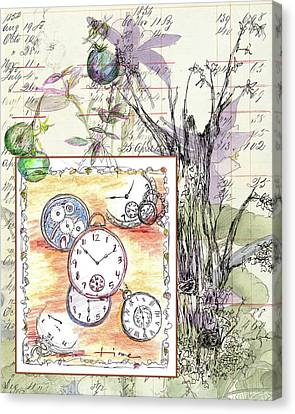 Canvas Print featuring the drawing Flowers And Time by Cathie Richardson