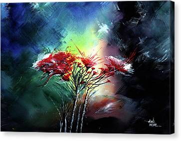 Canvas Print featuring the painting Flowers by Anil Nene