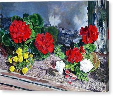 Flowers At Church Canvas Print by Scott Robertson