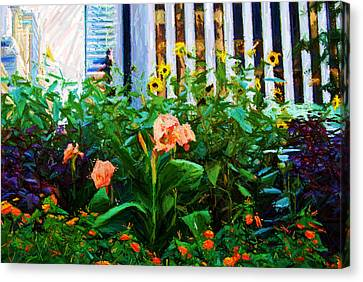 Flowers At The Fountain Of The Plaza Hotel Canvas Print by Randy Aveille