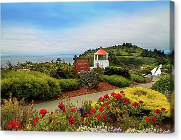 Canvas Print featuring the photograph Flowers At The Trinidad Lighthouse by James Eddy