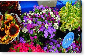 Flowers At Union Station Market Canvas Print by Angela Annas