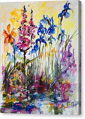 Canvas Print featuring the painting Flowers By The Pond Blue Irises Foxglove by Ginette Callaway