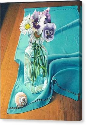 Canvas Print featuring the drawing Flowers From Johnny Linen From Noni by Donna Basile