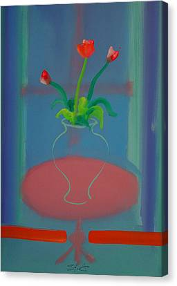 Canvas Print featuring the painting Flowers In A Bay Window by Charles Stuart
