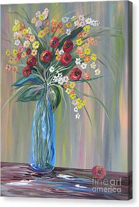 Flowers In A Blue Vase Soft Focus Canvas Print