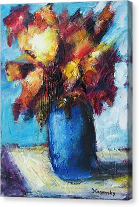 Canvas Print featuring the painting Flowers In A Blue Vase. by Yulia Kazansky