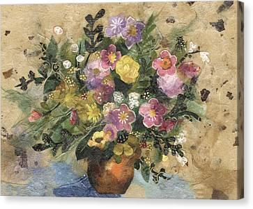 Flowers In A Clay Vase Canvas Print by Nira Schwartz