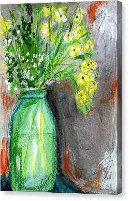 Flowers In A Green Jar- Art By Linda Woods Canvas Print by Linda Woods