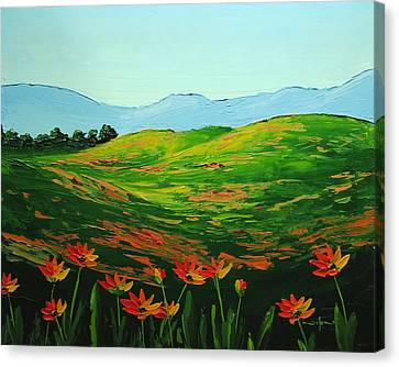 Flowers In A Meadow Canvas Print by Nolan Clark