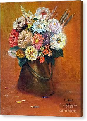 Canvas Print featuring the painting Flowers In A Metal Vase  by Marlene Book