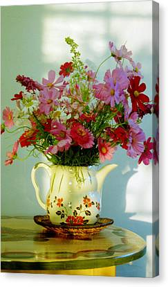 Flowers In A Teapot Canvas Print by Patricia Greer