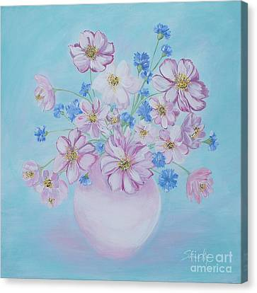 Flowers In A Vase. Delicate Home Collection Canvas Print