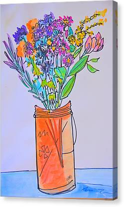 Flowers In An Orange Mason Jar Canvas Print