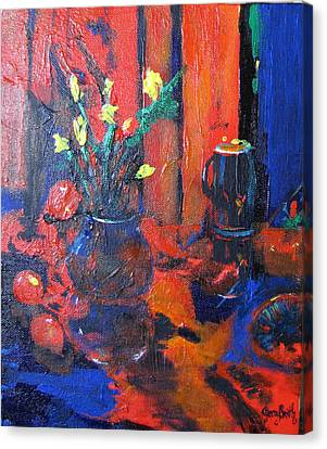 Canvas Print featuring the painting Flowers In Blue Vase by Gary Smith