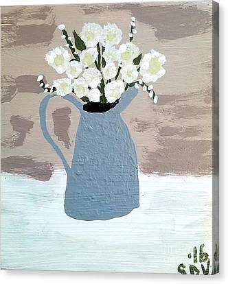 Flowers In Hammered Pewter Vase Canvas Print by Scott D Van Osdol
