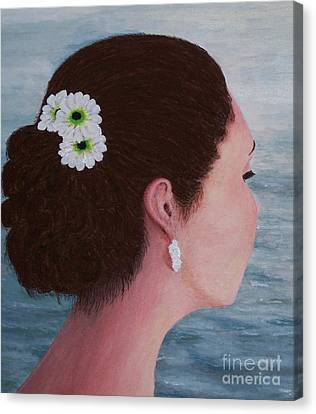 Flowers In Her Hair Canvas Print by Judy Kirouac