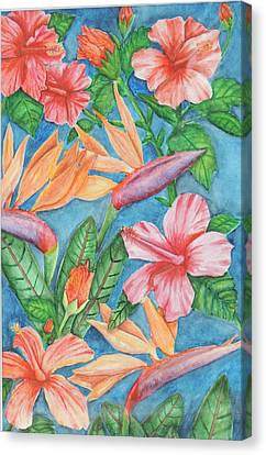 Flowers In Paradise Canvas Print by Katiana Valdes