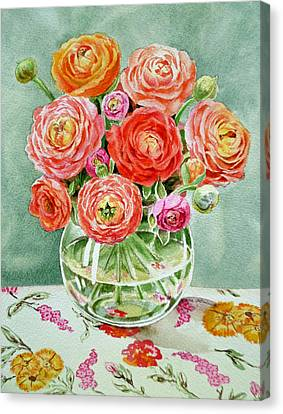 Flowers In The Glass Vase Canvas Print by Irina Sztukowski