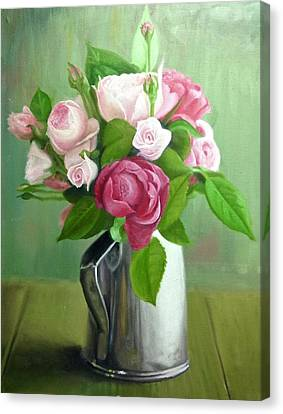 Flowers In Vase Canvas Print by Bernard Morille