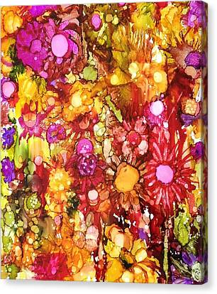 Canvas Print featuring the painting Flowers In Yellow And Pink by Suzanne Canner
