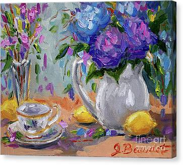 Canvas Print featuring the painting Flowers Lemons by Jennifer Beaudet