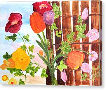 Canvas Print featuring the painting Flowers On A Fence by Sandy McIntire