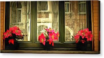 Flowers On A Ledge Canvas Print