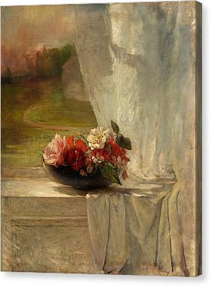 Flowers On A Window Ledge Canvas Print by Mountain Dreams