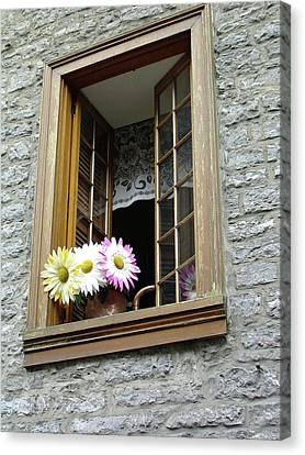Canvas Print featuring the photograph Flowers On The Sill by John Schneider