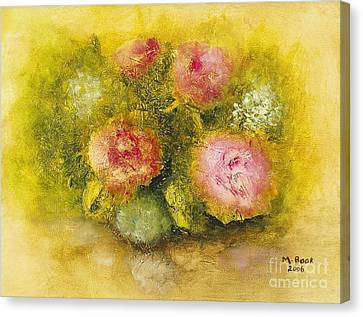Canvas Print featuring the painting Flowers Pink by Marlene Book