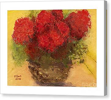 Canvas Print featuring the mixed media Flowers Red by Marlene Book