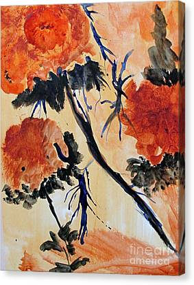 Canvas Print featuring the painting Flowers by Sandy McIntire