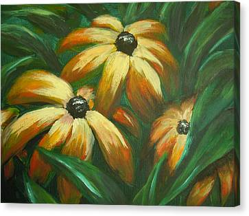 Canvas Print featuring the painting Flowers That Don't Sleep by Dan Whittemore