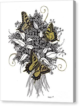 Canvas Print featuring the drawing Flowers That Flutter by Stanza Widen
