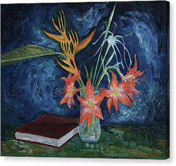 Milarepa Canvas Print - Flowers With Book by Eva Santi