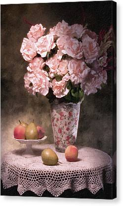 Flowers With Fruit Still Life Canvas Print by Tom Mc Nemar