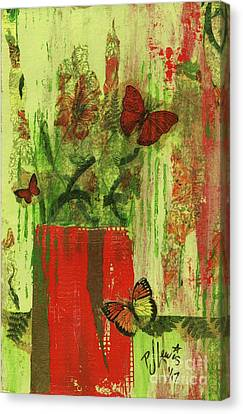 Canvas Print featuring the mixed media Flowers,butteriflies, And Vase by P J Lewis