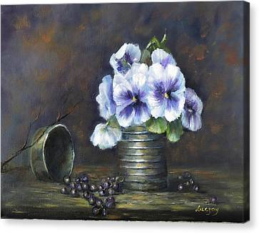 Flowers,pansies Still Life Canvas Print by Luczay