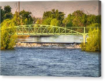 Flowing Kern River Walk And Bridge Canvas Print