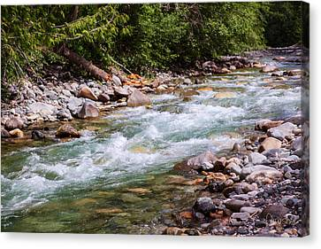 Flowing Mountain Rivers Landscape Art By Omashte Canvas Print by Omaste Witkowski