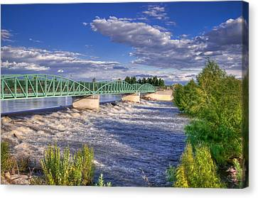 Flowing River And Bridge Canvas Print by Connie Cooper-Edwards