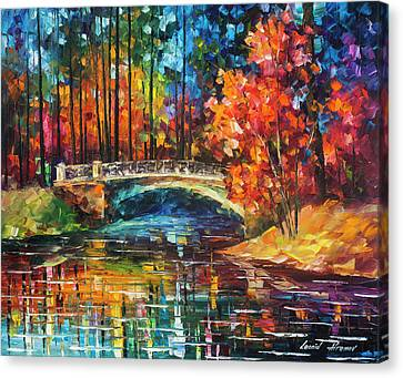 Flowing Under The Bridge  Canvas Print by Leonid Afremov