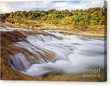 Flowing Waters Of The Pedernales River At Pedernales Falls State Park - Texas Hill Country Canvas Print by Silvio Ligutti
