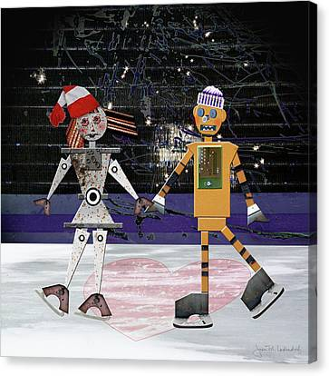 Floyd And Zoe's Skate Date Canvas Print by Joan Ladendorf