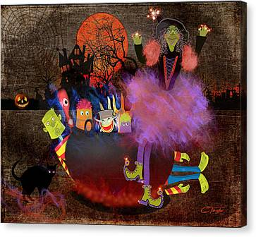 Fluffnella The Magical Good Witch And Her Pot Of Goblins Canvas Print