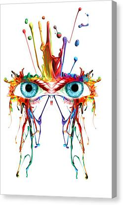 Fluid Abstract Eyes Canvas Print by Robert G Kernodle